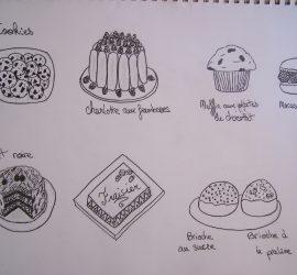 Cookies, macaron, charlotte, fraisier, forêt noire et chouquette concours de dessin du jeu the ou chocolat
