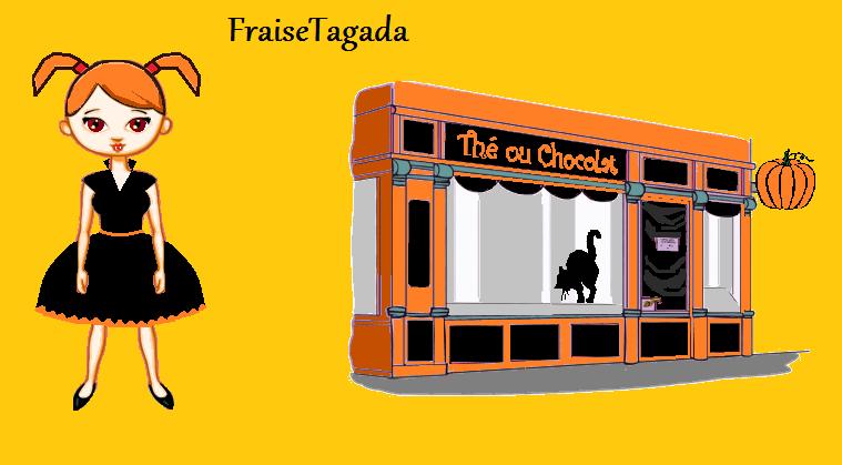 devanture boutique boulangerie patisserie halloween orange et noir